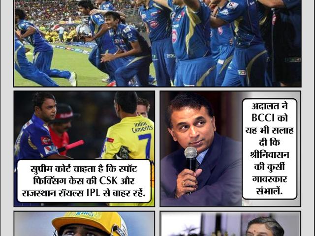 सुप्रीम कोर्ट ने कहा- गावस्कर बने बीसीसीआई अध्यक्ष, CSK और RR न खेलें IPL