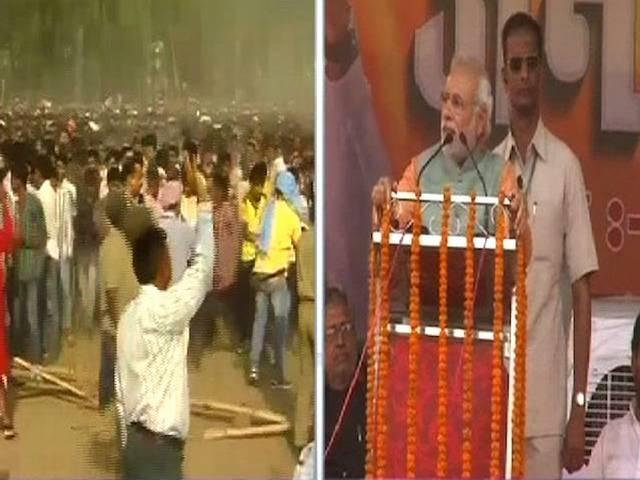 गया में नरेंद्र मोदी को देखने के लिए उमड़ी भीड़ का हंगामा, काबू करने के लिए बिहार पुलिस ने बरसाई लाठियां