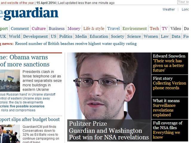 एडवर्ड स्नोडन के खुलासे पर आधारित रिपोर्टिंग के लिए गार्जियन और वाशिंटन पोस्ट को पुलित्जर पुरस्कार