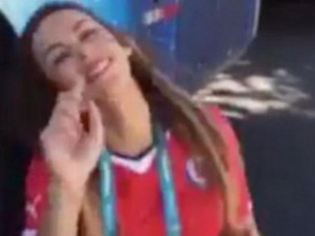Chile journalist Jhendelyn Nunez shows her bra after Alexis Sanchez goal against Brazil