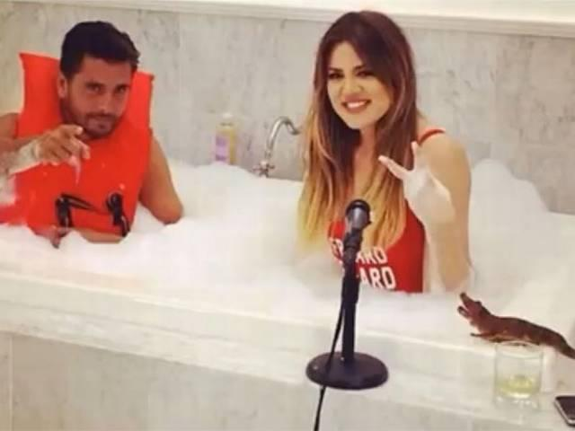 Khloe Kardashian bubble bath Scott Disick