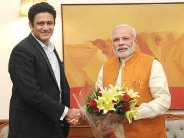 Anil Kumble_Narendra Modi_P.M._Meet_Former Bowler_