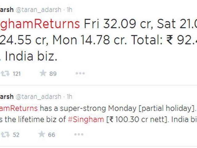 Singham returns 4 days collection 92 cror