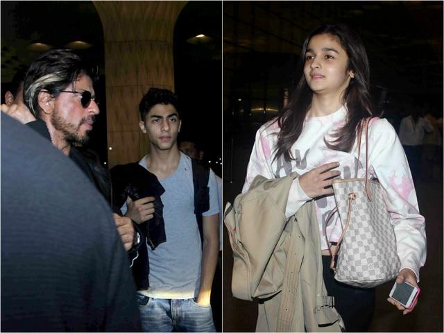 Shahrukh khan spotted with his son aryan khan at mumbai airport