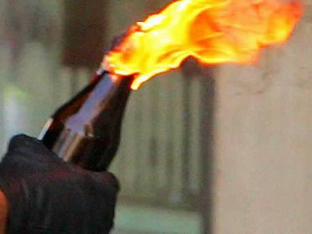 BJP advocate wing throws petrol bomb on a politician's house