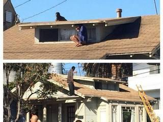 Young woman hiding on roof from intruder
