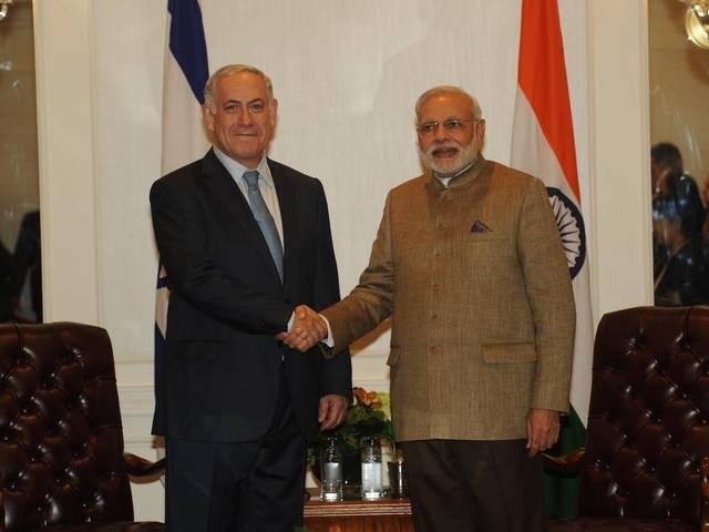 Indian PM Modi meets Israeli PM Benjamin Netanyahu