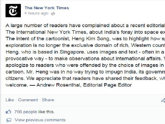 new york times apologies for it's mocking editorial cartoon on mangalyaan