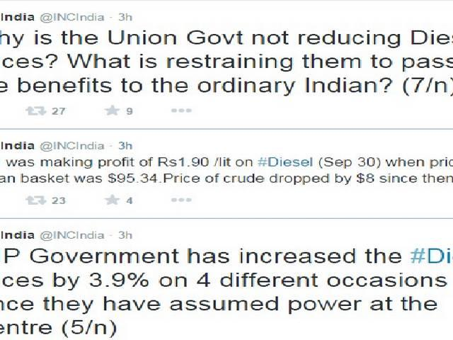 Diesel prices should be immediately brought down: congress