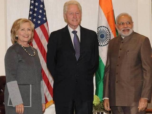 narendra modi_hilery Clinton_Birthday wish_
