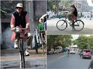 Amitabh Bachchan did cycling for upcoming movie PIKU