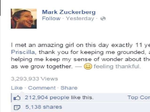 Mark Zuckerberg Pays Tribute To His Wife On Facebook