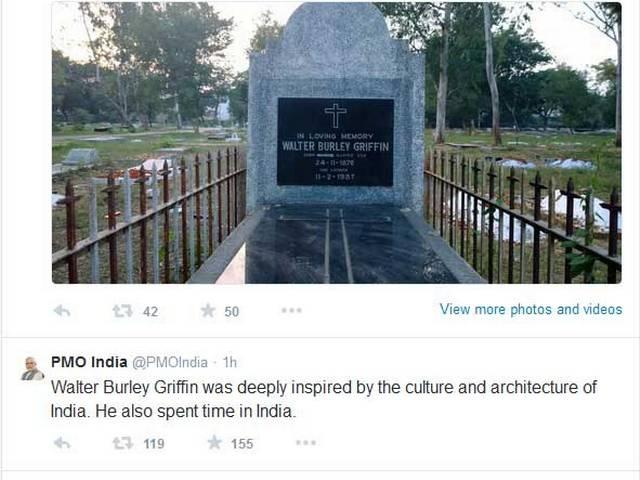 PM Modi tweeted, 'Walter Burley Griffin, the well known American architect designed Canberra. His final resting place is at Lucknow Christian Cemetery.'