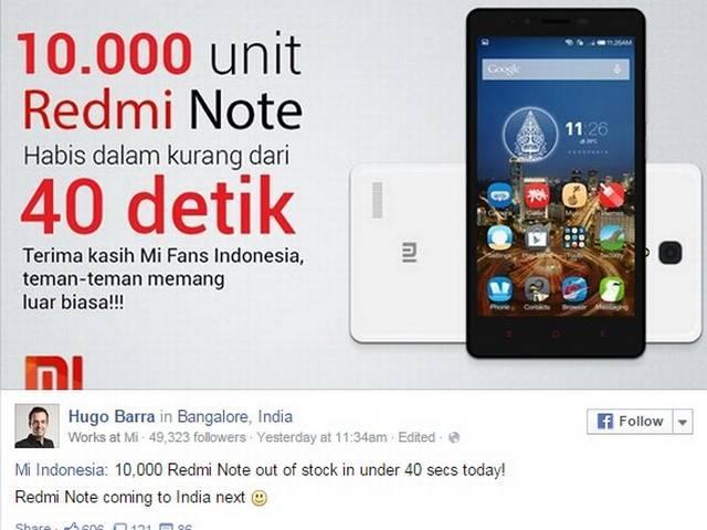 Xiaomi Redmi Note to hit Indian market in December