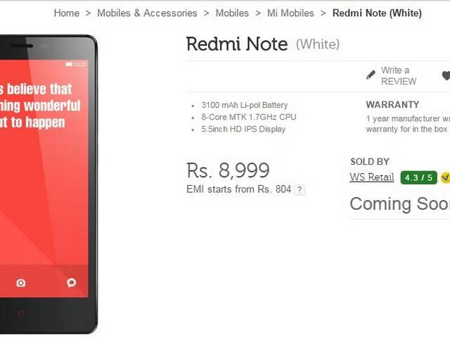 50000 Xiaomi Redmi Note Phones to Go on Sale in Tuesday's Flash Sale