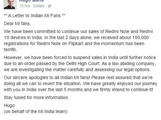 Xiaomi VP Hugo Barra's letter to Indian buyers over sales ban