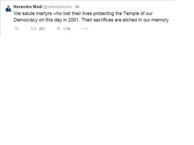 Modi salutes martyrs on 13th anniversary of Parliament terror attack