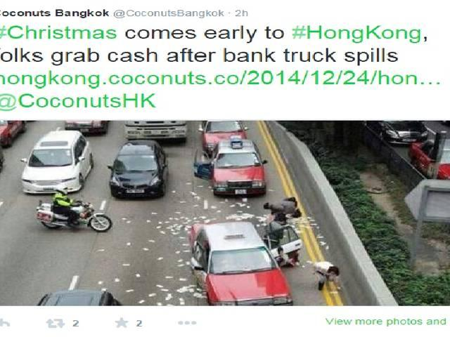 Christmas Eve 'miracle': Money rain in Hong Kong prompts sprint for 'free' cash (VIDEO)