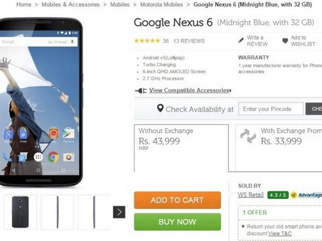 Nexus 6 Arrives On Flipkart Just In Time For The New Year