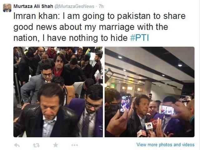 Imran khan: I am going to pakistan to share good news about my marriage with the nation
