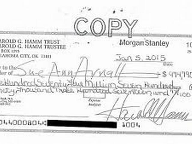 Ex-wife of oil tycoon Harold Hamm rejects US$975 million divorce cheque