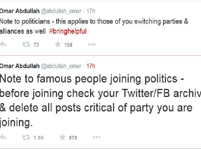 Please check your FB/Twitter archive before switching parties: Omar Abdullah's advice to politicians