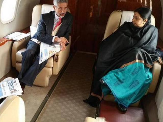 after the completion of china visit sushma swaraj gets back to india with the foreign seceratery s jaishankar
