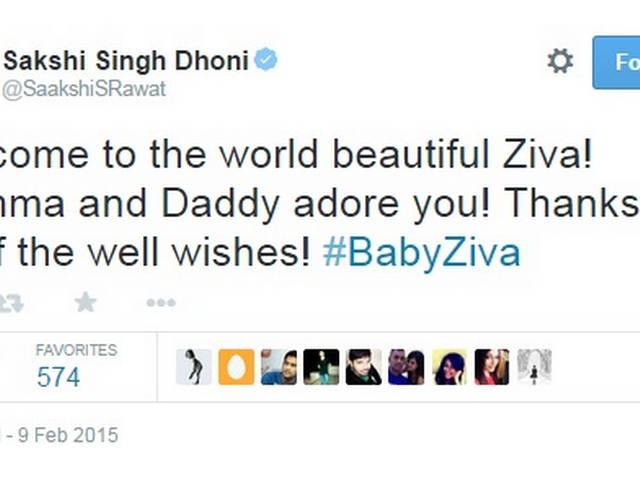 Dhoni names his daughter Ziva