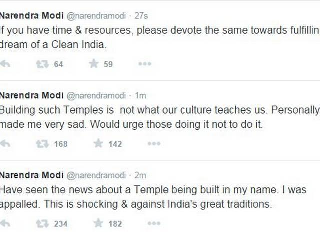 pm narendra modi criticises the act to temple making in his name