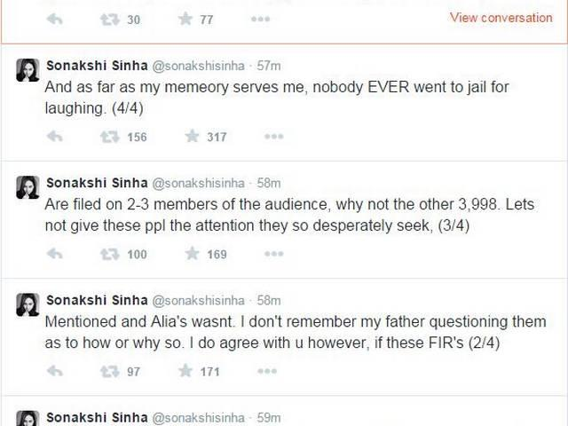 AIB: psot bombay high court's direction of filig fir against alia bhatt, father mahesh bhatt reacts on twitter and sonakshi sinha tweets in support