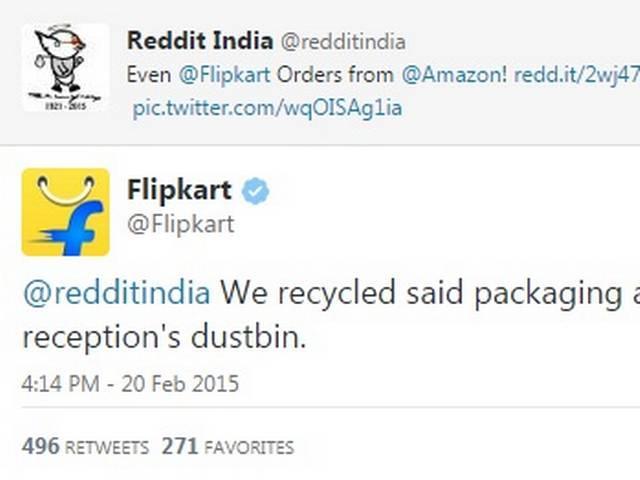 Flipkart uses Amazon package as dustbin