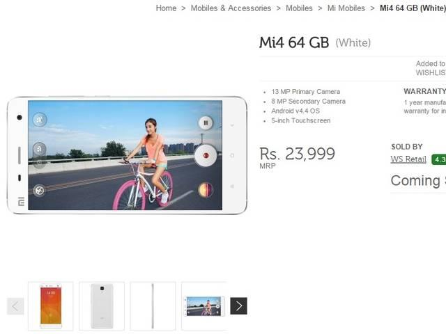 The 64GB variant of the Xioami Mi4 to go on sale in India today