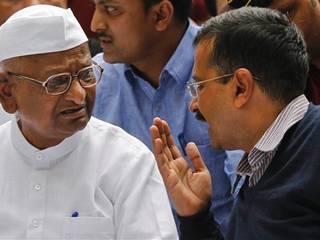 Delhi chief minister Arvind Kejriwal, anti-corruption activist Anna Hazare