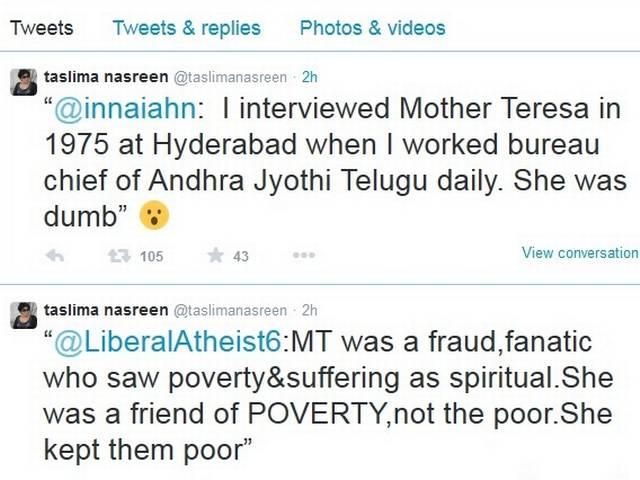 Mother Teresa was a fraud,fanatic: Nasreen