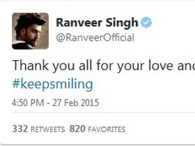 Ranveer Singh injured while shooting for Bajirao Mastani, thanks his fans for concern