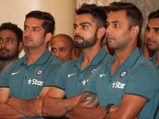 World Cup 2015_Team India_Mahendra Singh Dhoni_Virat Kohli_Ravi Shastri_