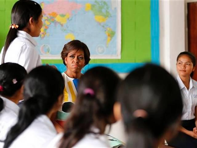 Michelle meets Cambodian students in girls' education push