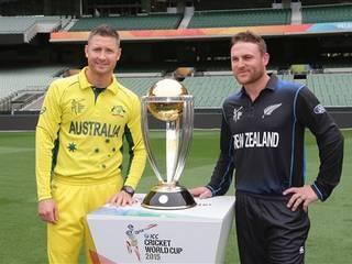 World Cup 2015_Michael Clarke_Brendon Mccullum_Finale_Melbourne_World Cup Trophy_