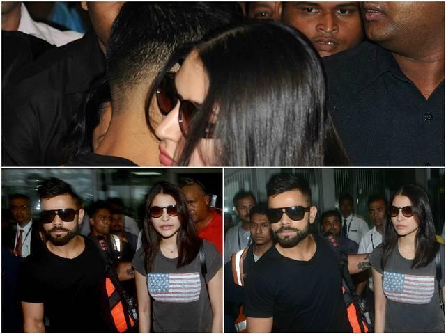 Kolkata: Virat Kohli and Anushka Sharma at Kolkata Airport
