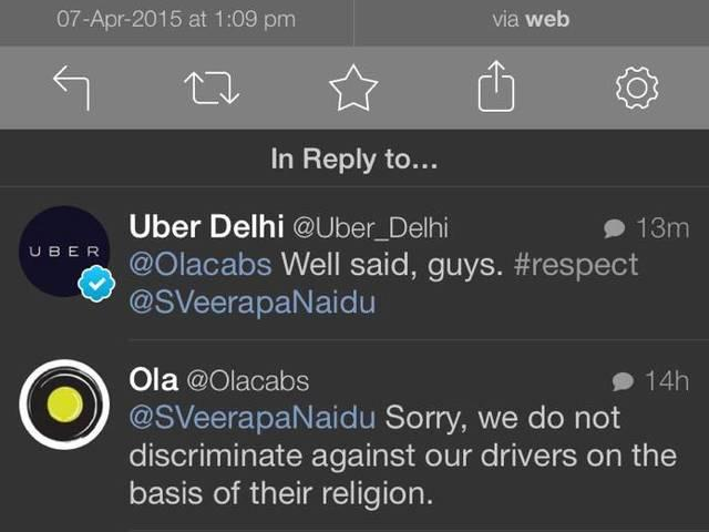 Olacabs gave a befitting reply to one discriminating customer