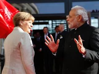 Prime Minister Narendra Modi at the opening of the industrial fair in Hanover, Germany