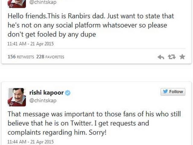 Ranbir Kapoor is Not, Repeat Not, on Twitter. Message From Father Rishi