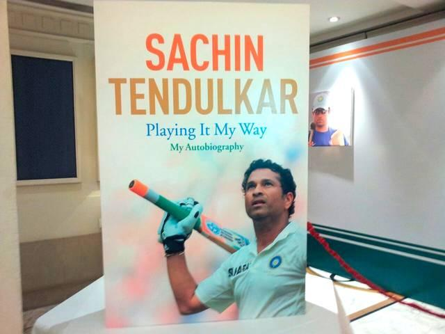 sachin tendulkar's bookin launching and bat & helmet display