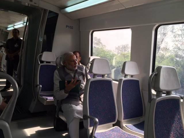PM narendra modi delhi metro ride