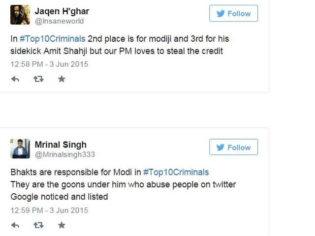 PM @narendramodi featuring in Google Search's #Top10Criminals triggers Twitter