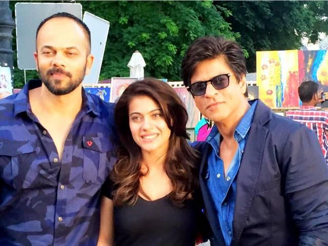 Shahrukh khan share picture with kajol and rohit shetty