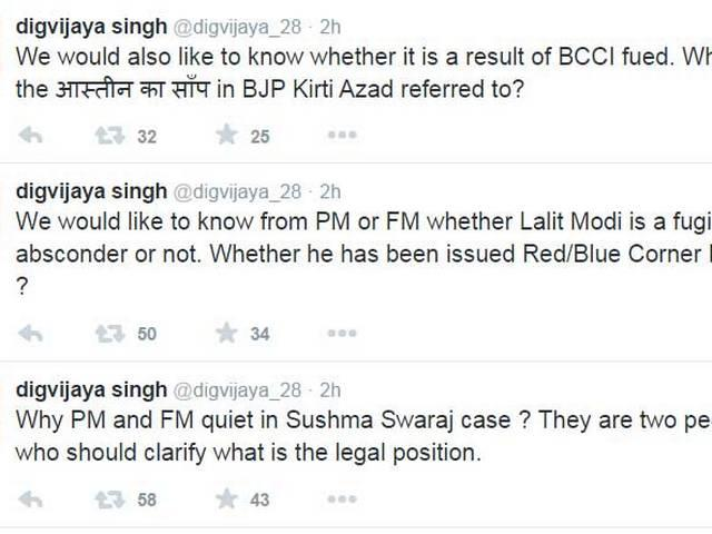 Dijgvijay Singh raises question on PM and FM  silence, tweeted-Why PM and FM quiet in Sushma Swaraj case ?