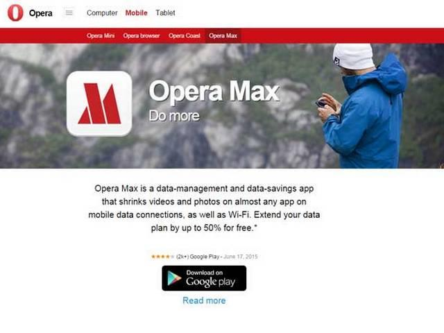Opera Max saves up to 50% mobile app data