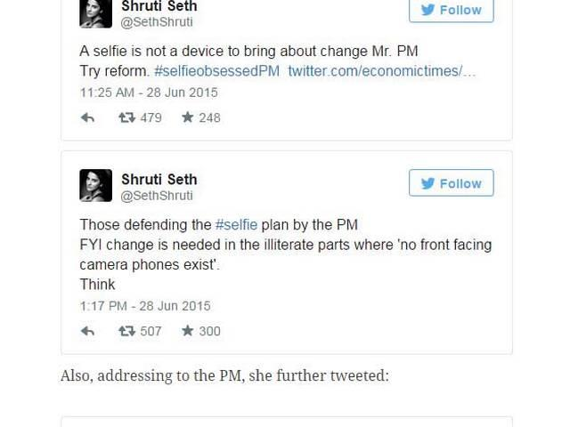 Shruti Seth trolled on twitter for comments on Narendra Modi's selfie with daughter