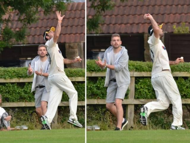 Yorkshire and Australia star Glenn Maxwell takes one handed catch whilst holding ice-cream in Bardsey exhibition